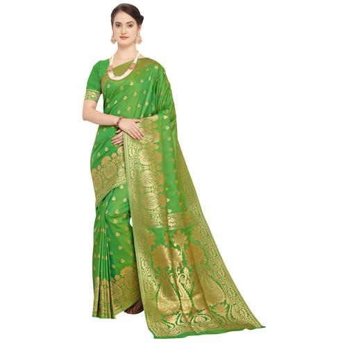 Breathtaking Green Colored Festive Wear Woven Silk Saree