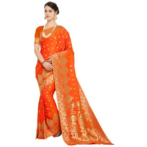 Adorning Orange Colored Festive Wear Woven Silk Saree