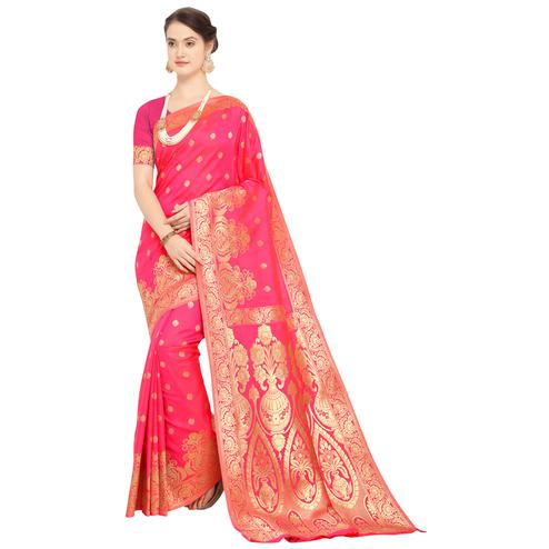 Marvellous Deep Pink Colored Festive Wear Woven Silk Saree