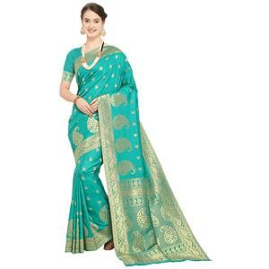 Deserving Turquoise Colored Festive Wear Woven Silk Saree