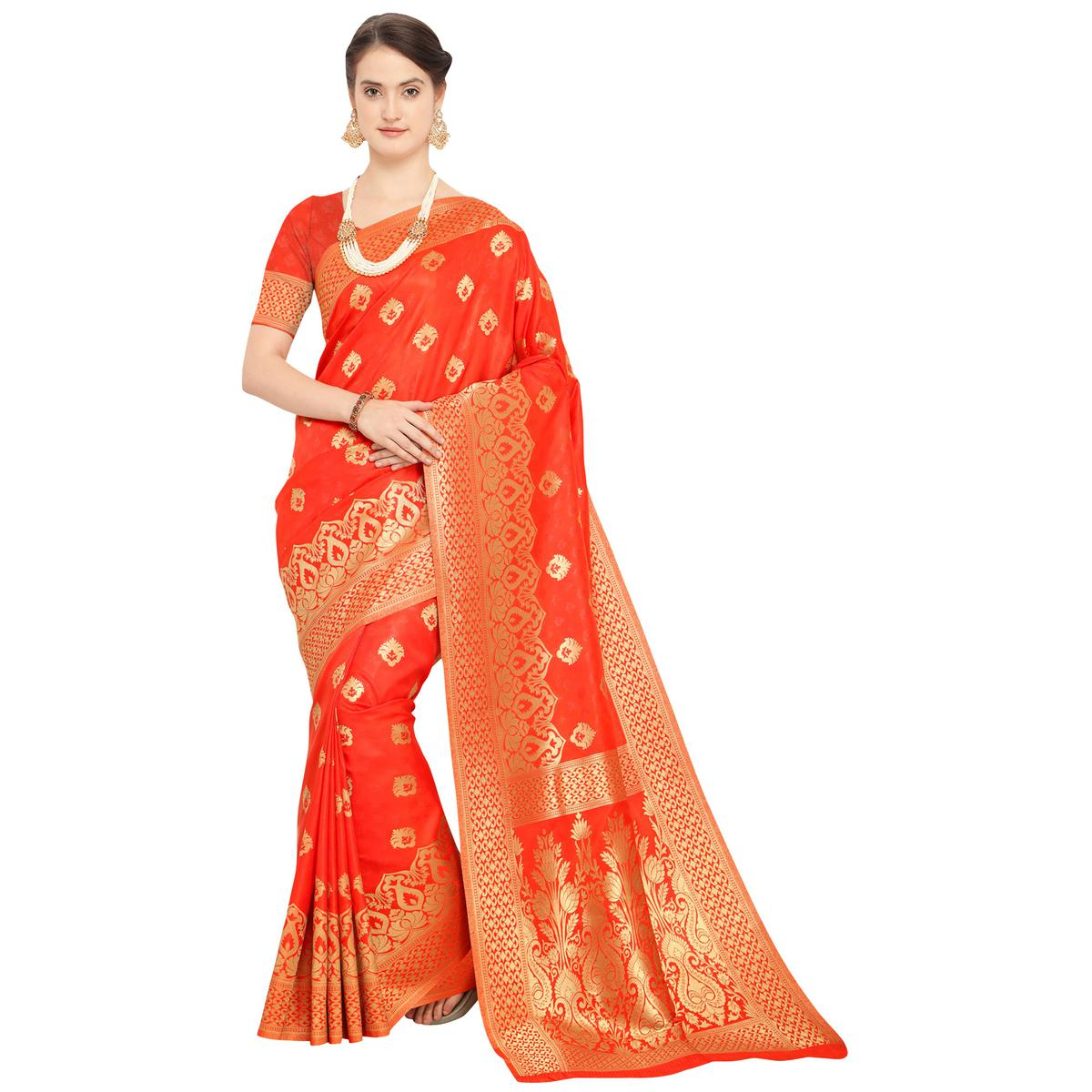 Awesome Red Colored Festive Wear Woven Silk Saree