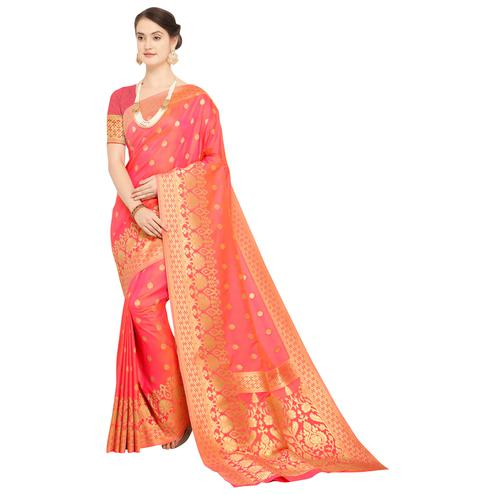 Amazing Pink Colored Festive Wear Woven Silk Saree