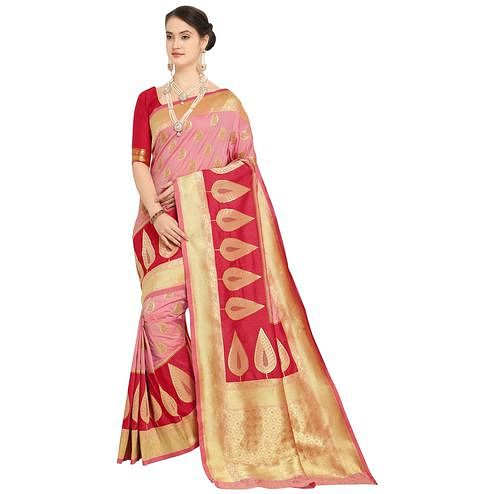 Snazzy Pink Colored Festive Wear Woven Silk Saree