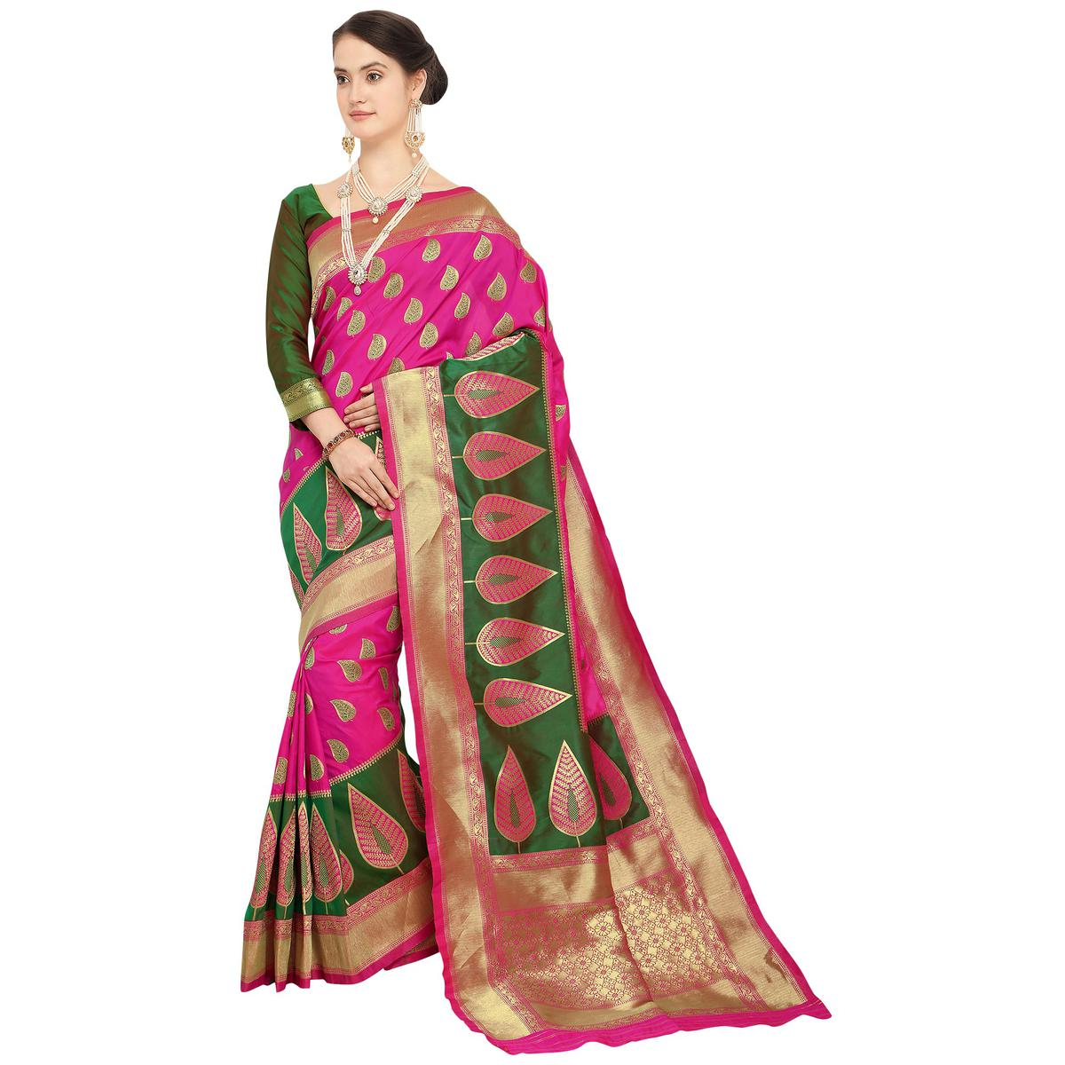 Arresting Dark Pink Colored Festive Wear Woven Silk Saree