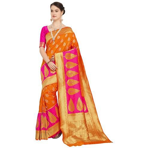 Glowing Orange Colored Festive Wear Woven Silk Saree