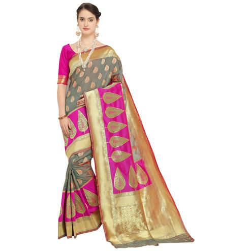 Gleaming Grey Colored Festive Wear Woven Silk Saree