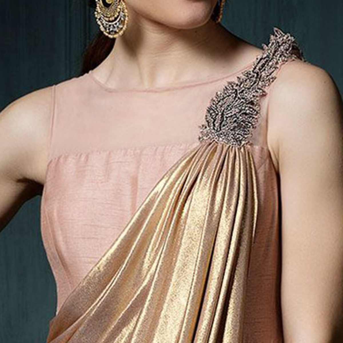 Extraordinary Peach Colored Designer Party Wear Silk Gown