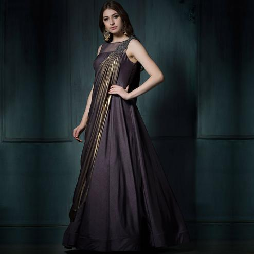 Precious Dark Purple Colored Designer Party Wear Silk Gown