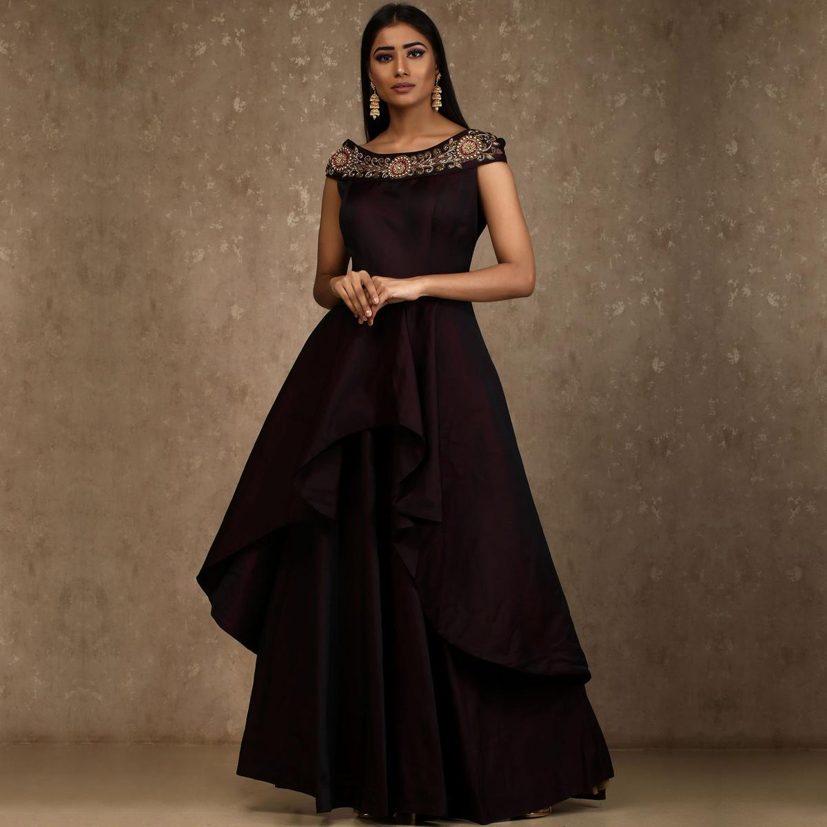 Buy Deserving Dark Maroon Colored Designer Party Wear Satin Tapetta ...