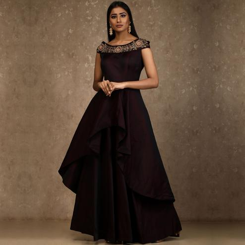Deserving Dark Maroon Colored Designer Party Wear Satin Tapetta Gown