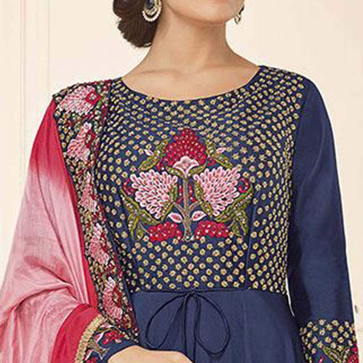 Flattering Dark Blue Colored Designer Party Wear Satin Tapetta Gown