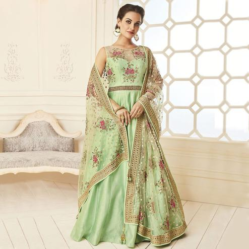 Delightful Pista Green Colored Designer Party Wear Banglori Silk Gown