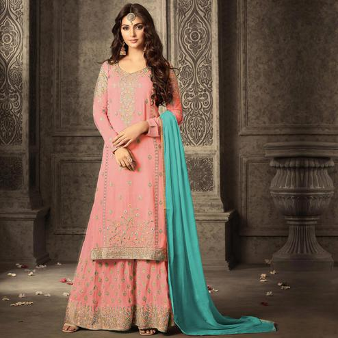 Opulent Light Pink Colored Partywear Embroidered Georgette Palazzo Suit