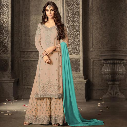 Ideal Peach Colored Partywear Embroidered Georgette Palazzo Suit