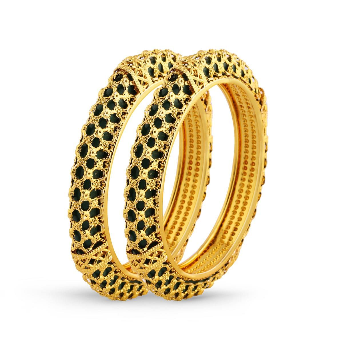 Gold Finishing Polki Traditional Bangle