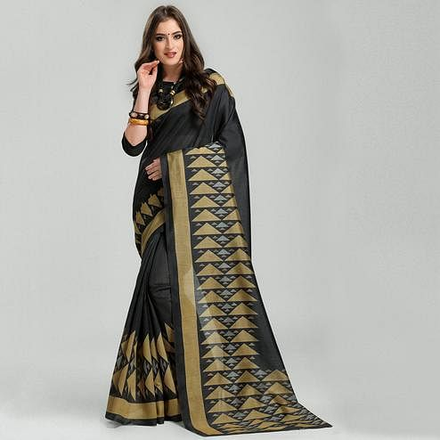 Pretty Black Colored Casual Printed Bhagalpuri Silk Saree