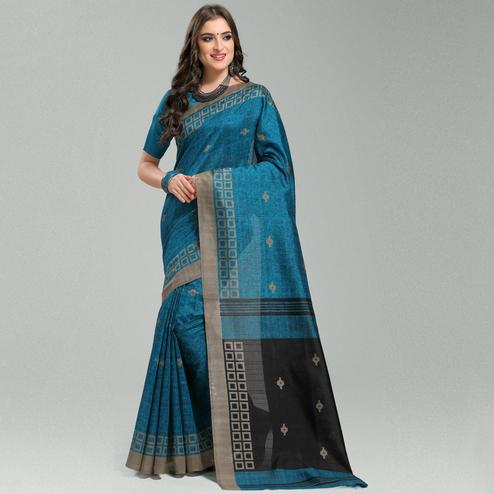 Classy Blue Colored Casual Printed Bhagalpuri Silk Saree