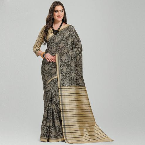 Graceful Black-Beige Colored Casual Printed Bhagalpuri Silk Saree