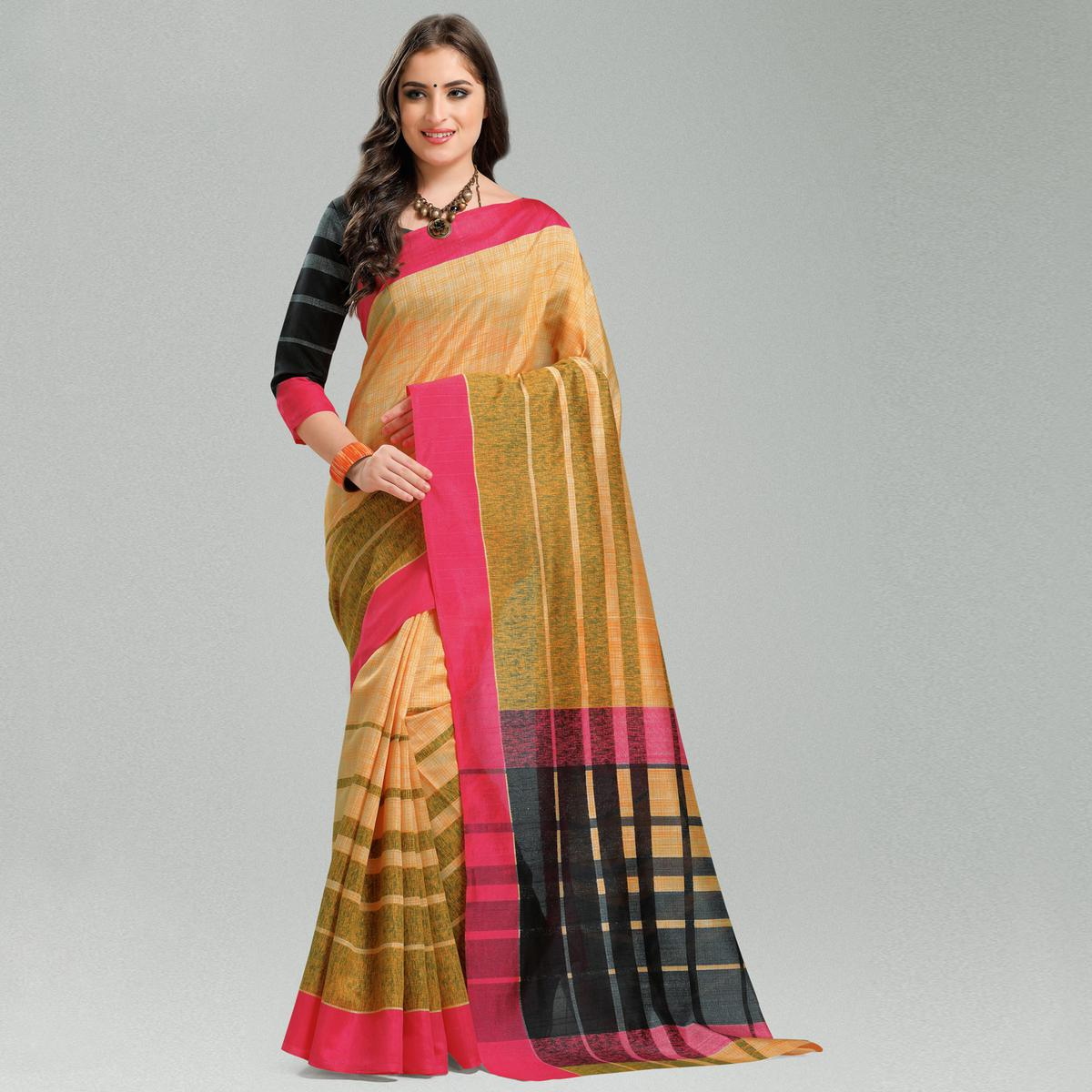 Gorgeous Orange Colored Casual Printed Bhagalpuri Silk Saree