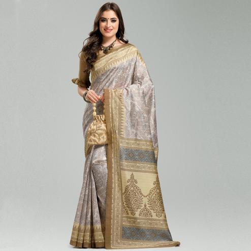 Elegant Off-White Colored Casual Printed Bhagalpuri Silk Saree