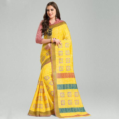 Exotic Yellow Colored Casual Printed Bhagalpuri Silk Saree