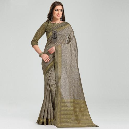 Snazzy Grey Colored Casual Printed Bhagalpuri Silk Saree