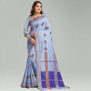 Energetic Lavender Colored Casual Printed Bhagalpuri Silk Saree