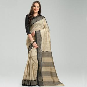 Majesty Beige Colored Casual Printed Bhagalpuri Silk Saree