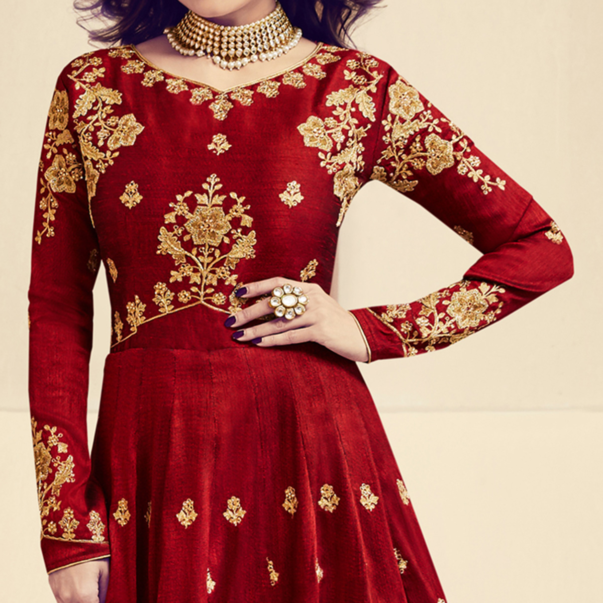 Staring Maroon Colored Designer Embroidered Party Wear Silk Anarkali Suit