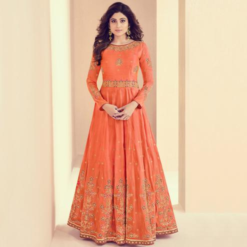 Breathtaking Orange Colored Designer Embroidered Party Wear Silk Anarkali Suit