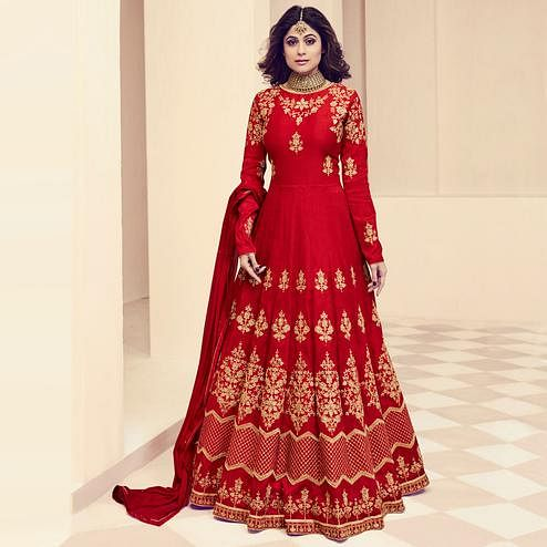 Elegant Red Colored Designer Embroidered Party Wear Silk Anarkali Suit