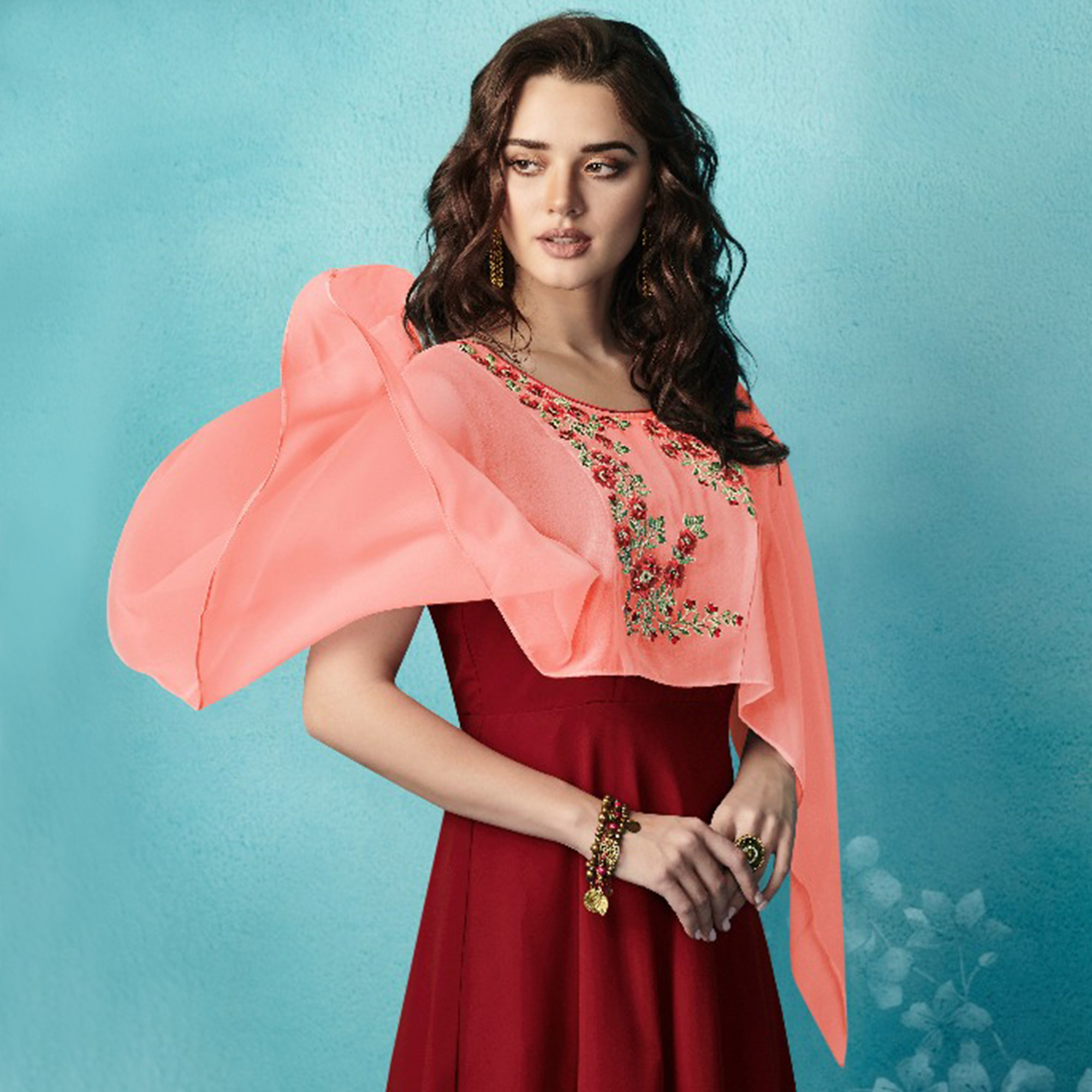 Ideal Maroon-Peach Colored Embroidered Party Wear Faux Georgette Kurti