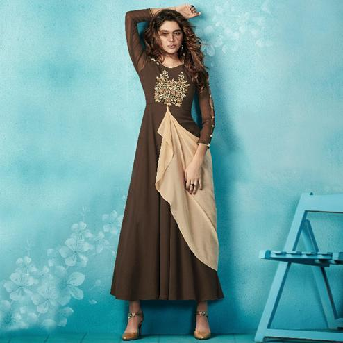 Precious Dark Brown Colored Embroidered Party Wear Faux Georgette Kurti