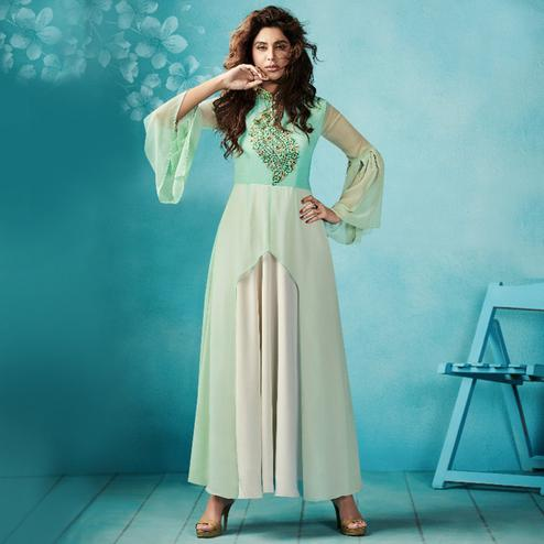 Classy Cream-Light Sea Green Colored Embroidered Party Wear Faux Georgette Kurti