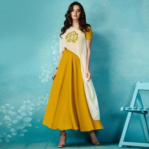 Opulent Mustard-Cream Colored Embroidered Party Wear Faux Georgette Kurti