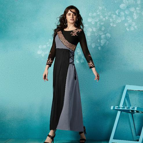 Innovative Black-Grey Colored Embroidered Party Wear Faux Georgette Kurti