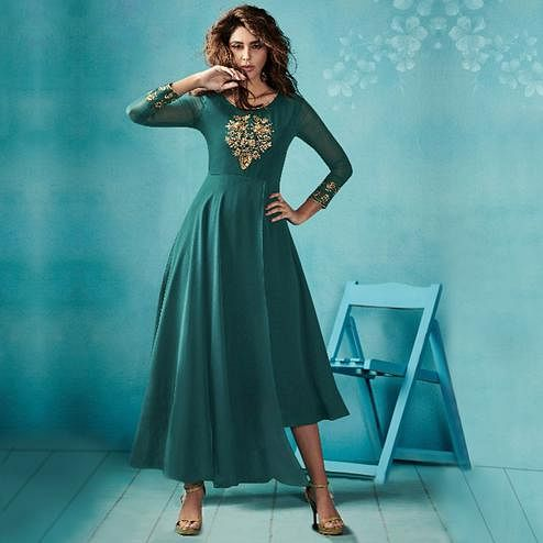 Capricious Stone Blue Colored Embroidered Party Wear Faux Georgette Kurti