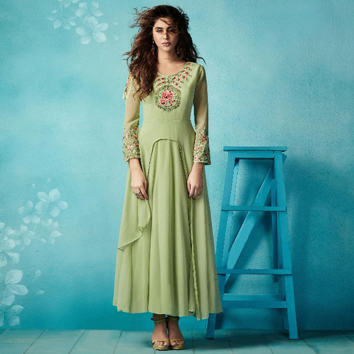 Pleasance Pista Green Colored Embroidered Party Wear Faux Georgette Kurti