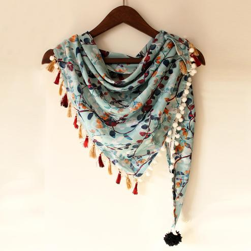 Sky Blue Colored Fancy Digital Printed Poly Pashmina Scarf