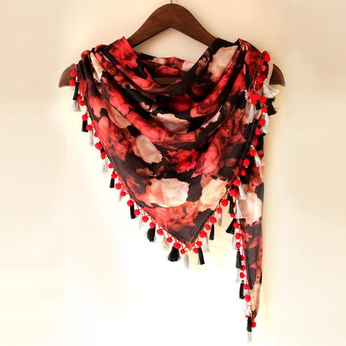 Brown & Red Colored Fancy Digital Printed Poly Pashmina Scarf