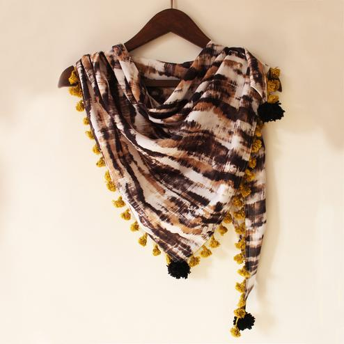 Brown & Off-White Colored Fancy Digital Printed Poly Pashmina Scarf