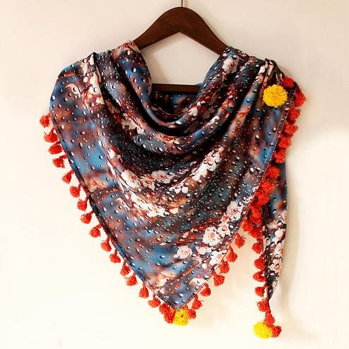 Multicolored Fancy Digital Printed Poly Pashmina Scarf