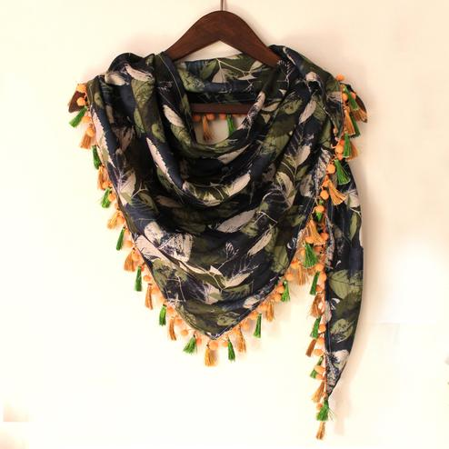 Navy Blue & Olive Green Colored Fancy Digital Printed Poly Pashmina Scarf