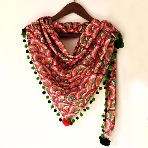 Pink & Green Colored Fancy Digital Printed Poly Pashmina Scarf