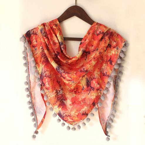 Orange Colored Fancy Digital Printed Poly Pashmina Scarf