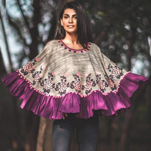 Amazing Grey & Purple Colored Printed Khadi Cotton Poncho