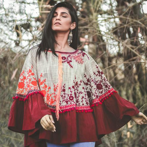 Exotic Cream & Maroon Colored Printed Khadi Cotton Poncho