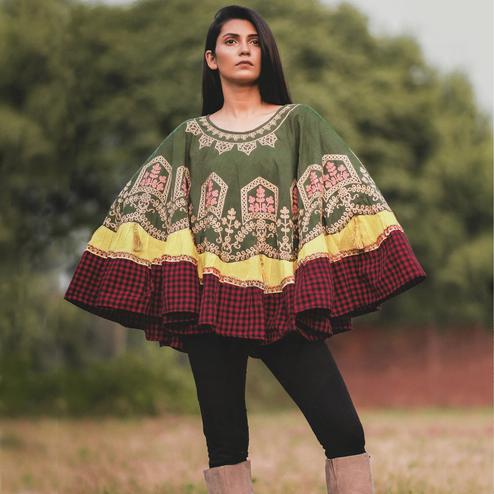 Adorning Olive Green Colored Printed Khadi Cotton Poncho