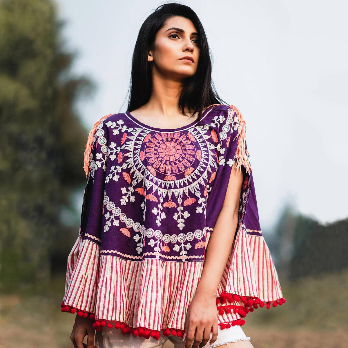 Prominent Purple Colored Printed Khadi Cotton Poncho