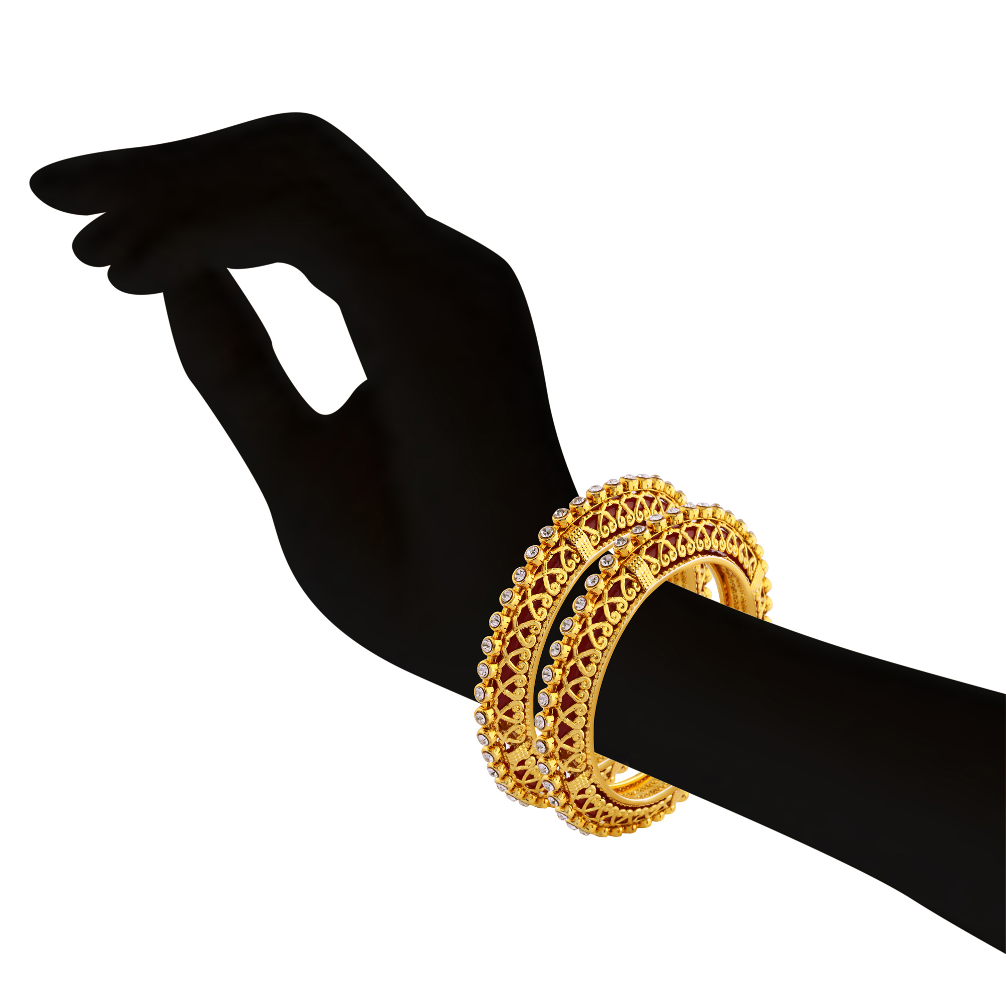 Gold Plated & White Stone Designer Bangle